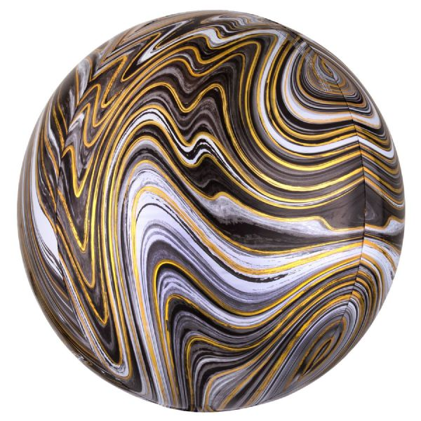 Black Marblez Round Orbz 15in Balloon
